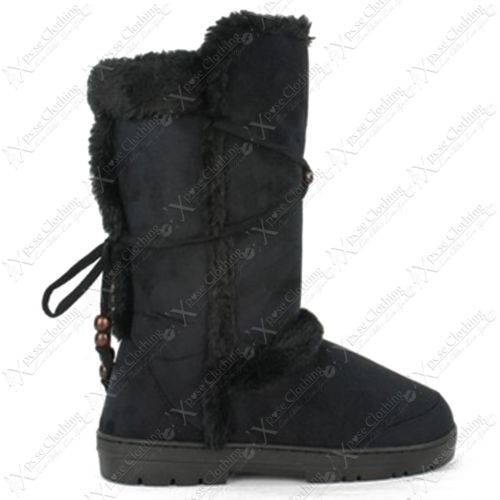 1688bce0499 LADIES WOMENS FUR LINED WINTER SNOW BOOTS THICK SOLE TALL FLAT WARM ...
