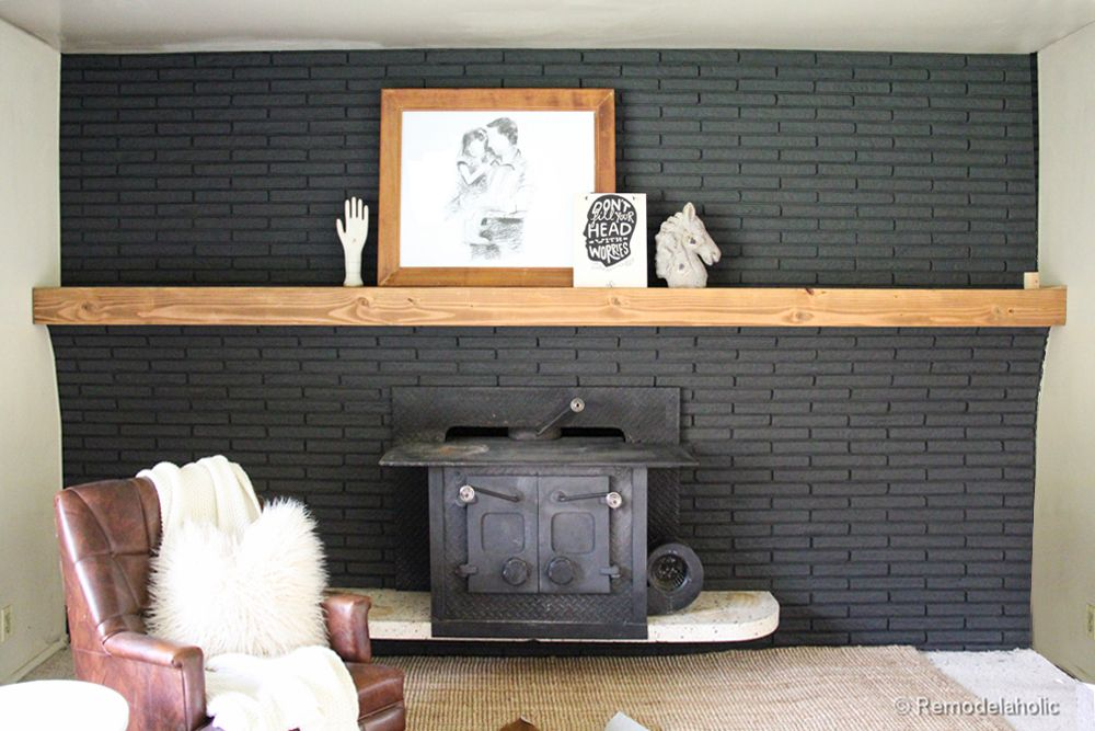 Black Brick Fireplace Wooden Mantle Google Search Interior Ideas