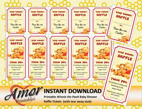 Baby Shower Raffle Tickets Winnie The Pooh Baby Shower Printables