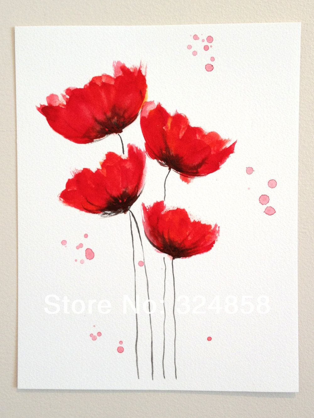 Watercolor Painting Original Watercolor Painting Poppy Cluster Red