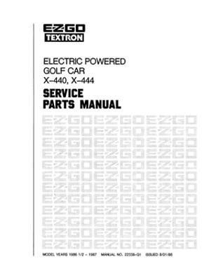 EZGO 22338G1 1986-1987 Service Parts Manual for Electric