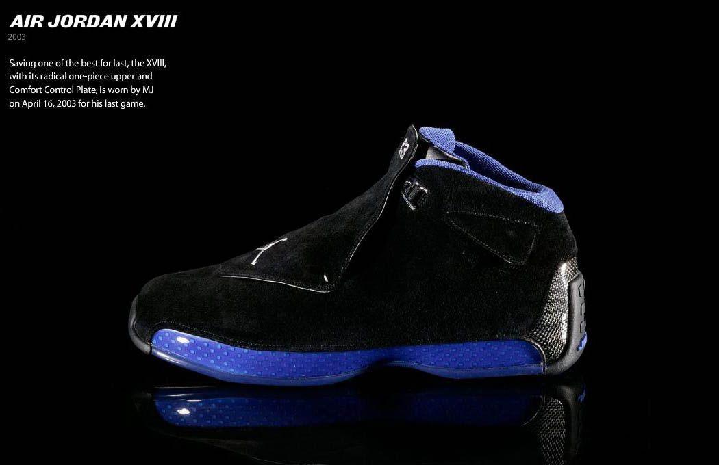 buy online cf940 e3fd9 Air Jordan XVIII....worn by MJ for his last game.