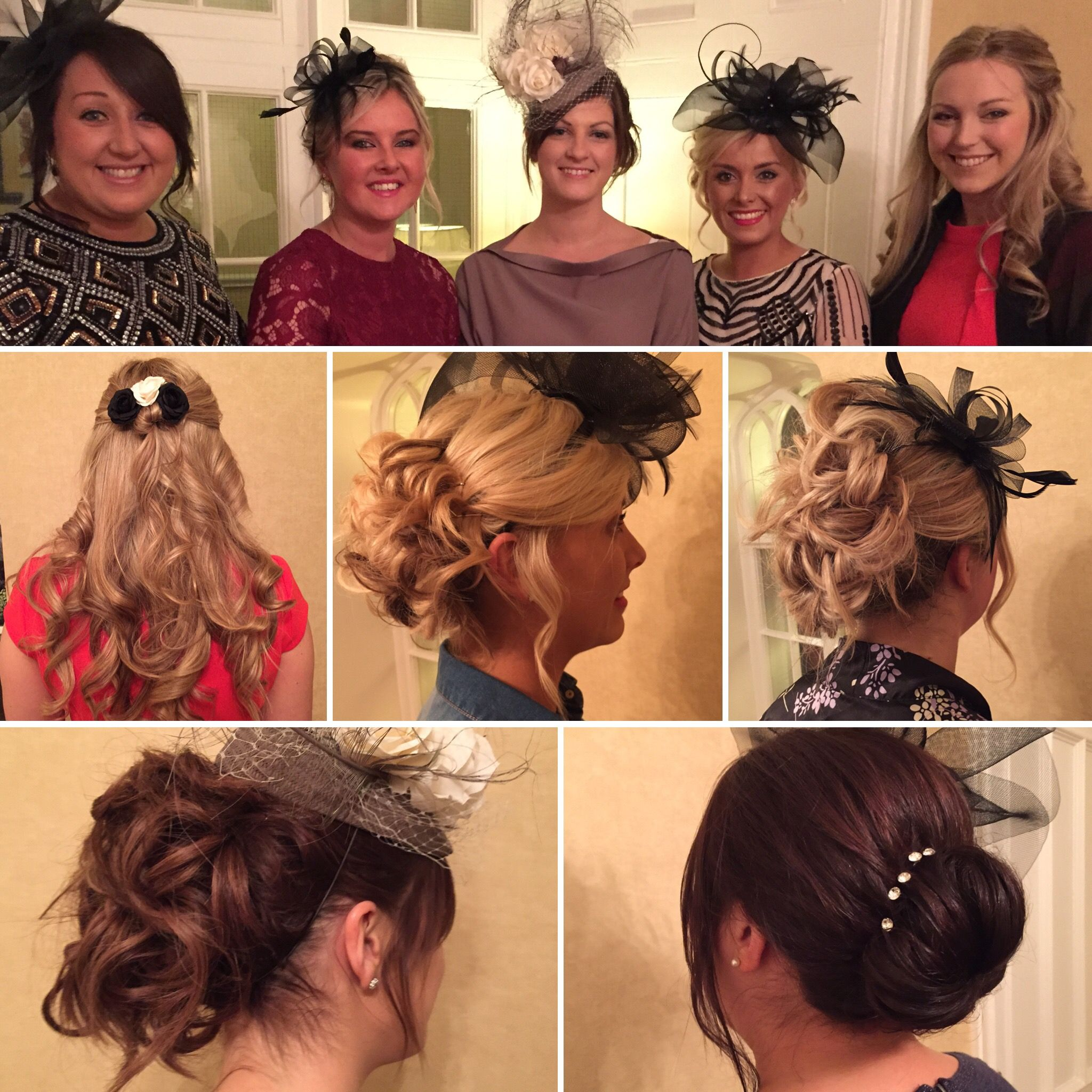 Hair By Jackie Of Jax Glam Beauty In Various Up Do S Curls Half Down Messy Bun To Back And Side Accessorised With Fascinators For Wedding