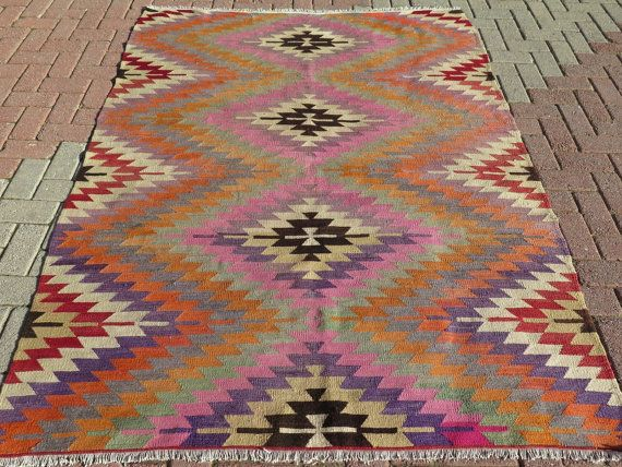 "VINTAGE Turkish Kilim Rug Carpet, Handwoven Kelim Rug,Antique Kilim Rug,Decorative Kilim, Natural Wool 63,7"" x 81,8"" Kilim Rug , Rugs , Rug"