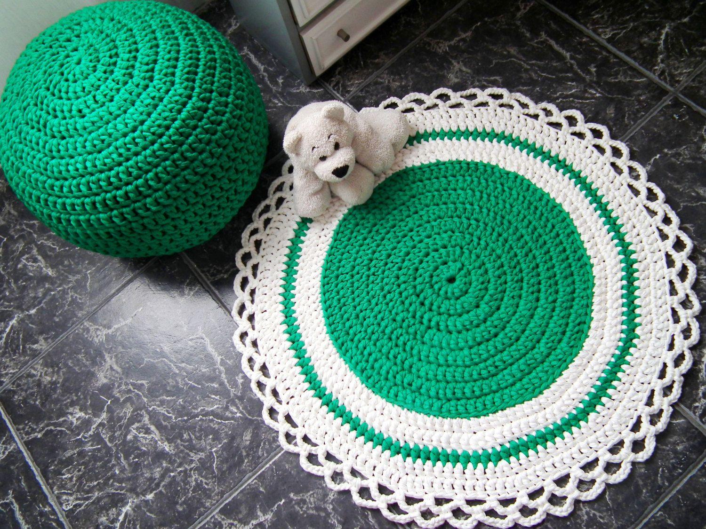 Teal Crochet Round Rug-Baby Play Mat Rug-Kids Rug-Nursery Rug-Floor ...