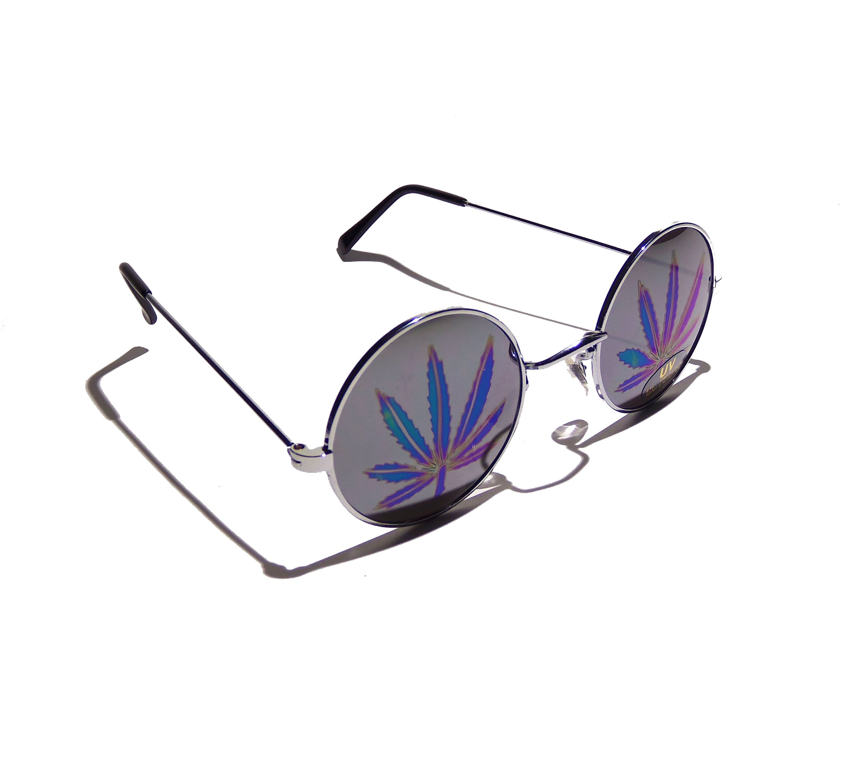 holographic pot leaf sunglasses in round john lennon hippie style ...