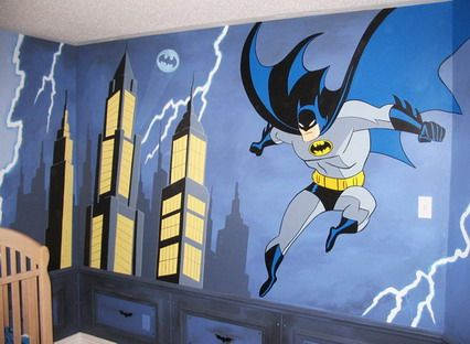 cool batman bedroom with stylish design ideas painting batman bedroom wall mural ideas metrohomesite - Childrens Bedroom Wall Ideas