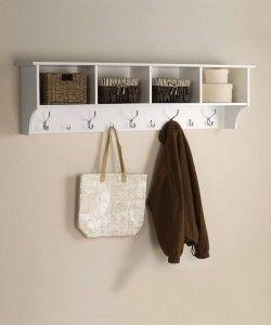 BEAUTIFUL Wall Mounted Coat Hat Rack 5 Hooks Storage Entryway Organiser 2 Basket