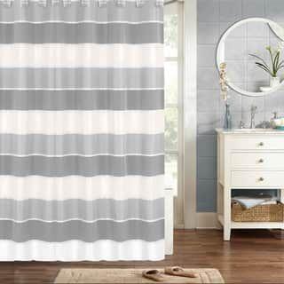 Modern Grey Striped Shower Curtain