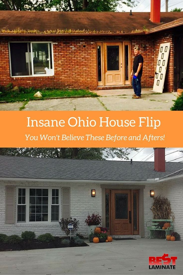 Insane Before And After House Flip In Ohio Brick Exterior House Painted Brick House Home Exterior Makeover