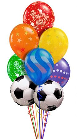 Soccer Birthday Balloon Bouquet 9 Balloons Hand Delivered By Balloonplanet