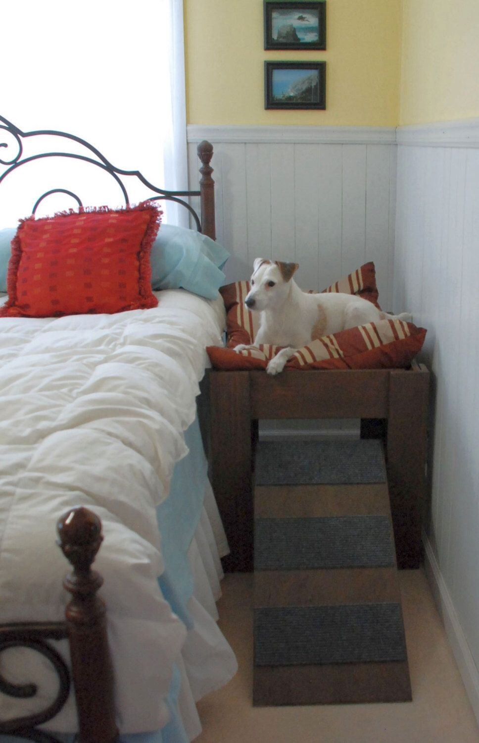 Wood raised dog bed furniture next to your bed with ramp by