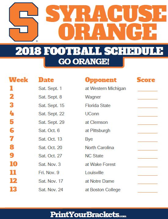 2018 Printable Syracuse Orange Football Schedule Syracuse Orange Syracuse Football Syracuse Orange Basketball