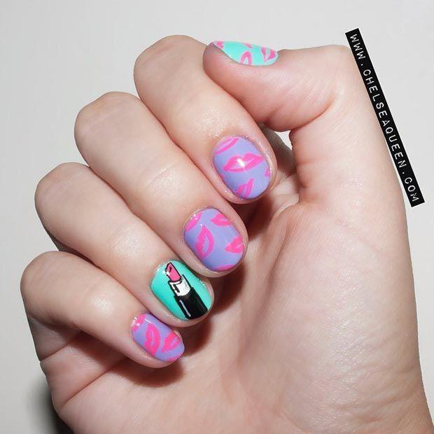 80 Nail Designs for Short Nails | Short nails, Lips and Accent nails