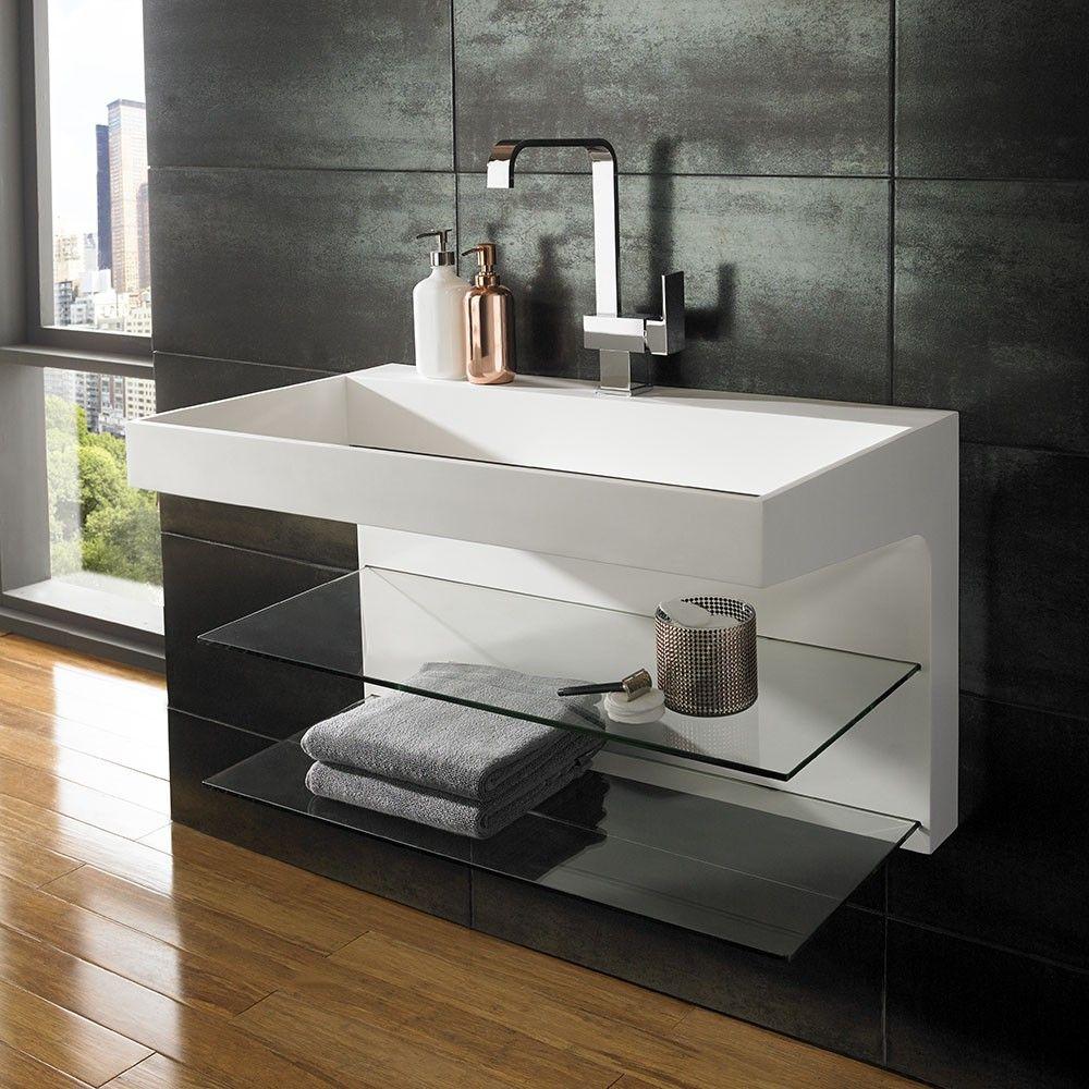 Wall Mounted Solid Surface Sleek Basin