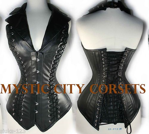 ce3c0e7a72f NEW LEATHER OVERBUST CORSET STEEL BONED FETISH PUNK GOTH GOTHIC MYSTIC CITY  M26