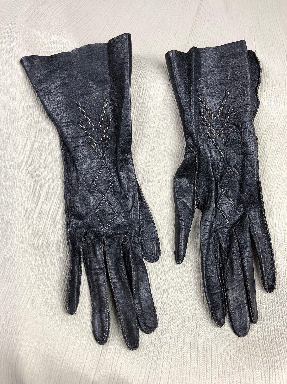 Beautiful Italian Window Pane Black Kid Leather Size 7 Gloves