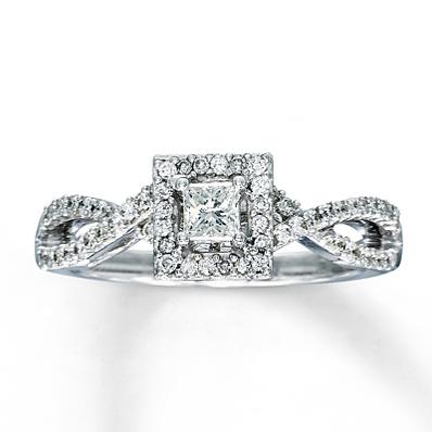 diamond engagement ring12 ct tw princess cut14k white gold - Kay Wedding Rings