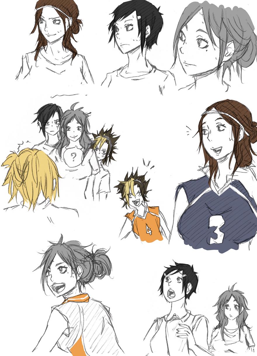• anime Fanart Sketch doodle genderbend genderswap tsukishima kei kageyama tobio…