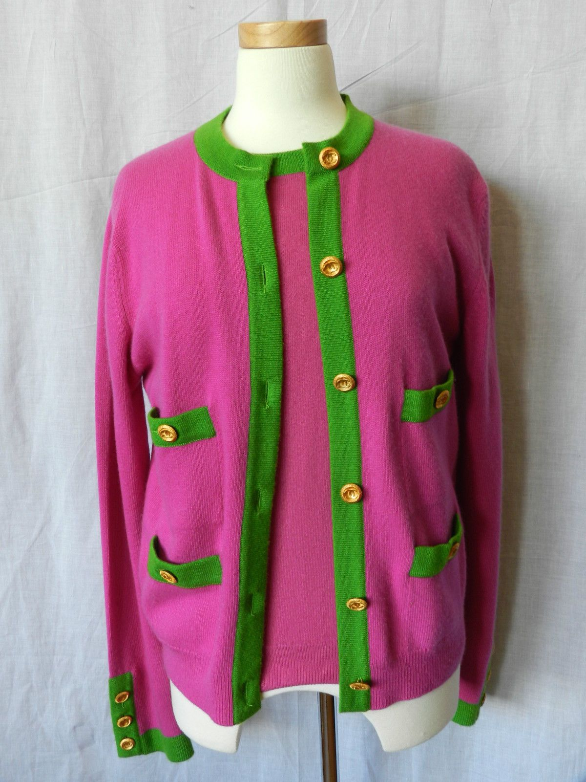 Chanel pink and green sweater twin set | AKA | Pinterest | Chanel ...