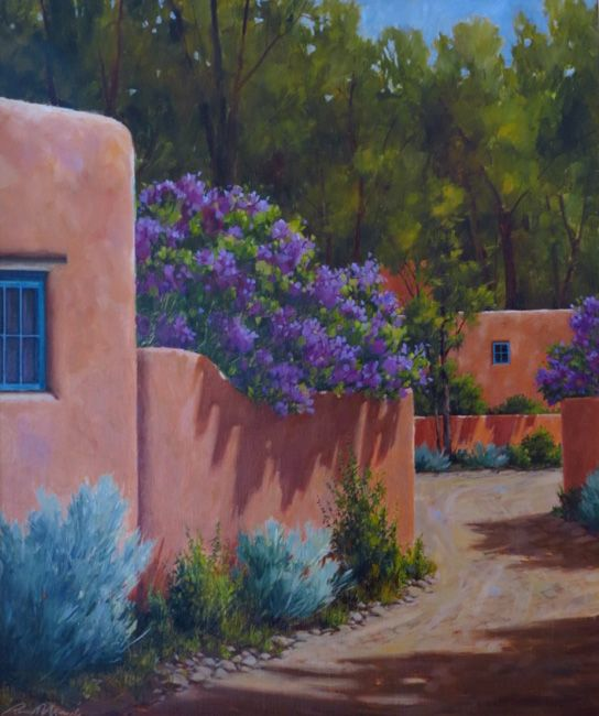 Lilacs and Trees by Artist Richard Murphy