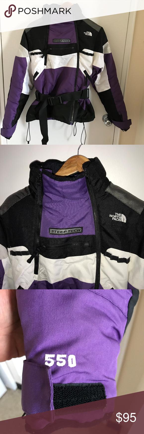 North Face Steep Tech White Black Purple Vintage S Beautiful Jacket Purple Jacket North Face Women [ 1740 x 580 Pixel ]