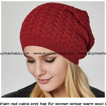 afc26121e7af7 Plain red cable knit hat for women winter warm wool beanie hats ...