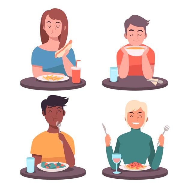 Download People Eating Food Illustrated For Free Gente Comiendo Personas Comiendo Ilustraciones De Alimentos