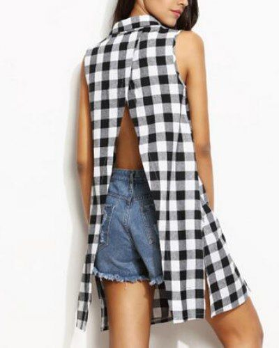 f3d4611a0d Black and white plaid shirt dress with slit sleeveless for teenage girls
