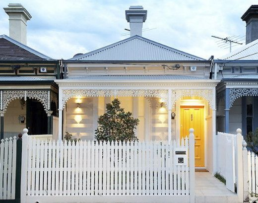 modern little white house in albert park australia with traditional victorian look - Australian Victorian Houses