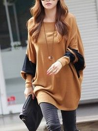 Coffee Blends Women Fashion Round Neck Bat Sleeve New Korean Autumn Style Simple Casual Loose Tops One Size FZ72489-28co