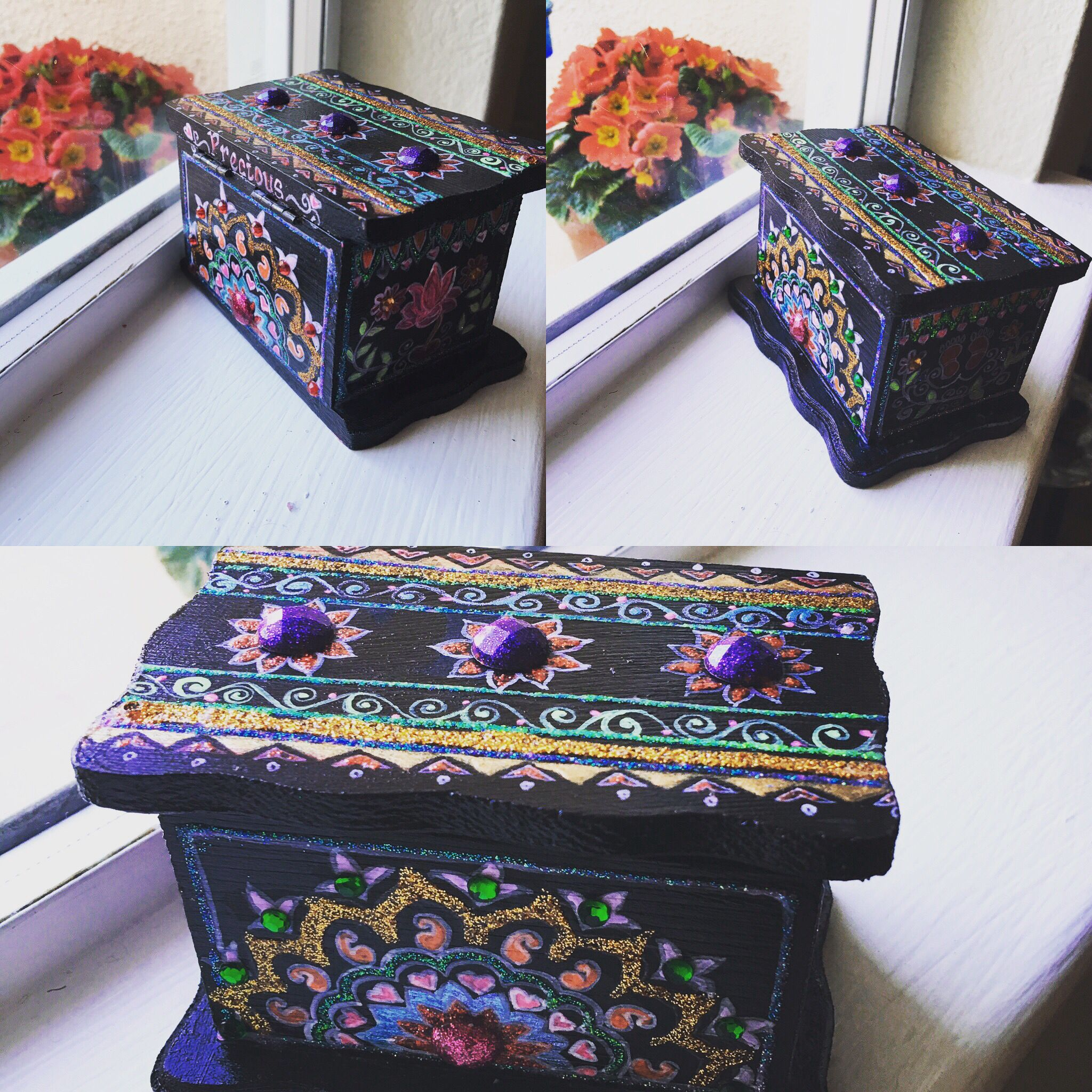 Small Wood Box Craft Hand Painted Using Acrylic And Glitter Colors Adorned With Crystals Preciousbypriya Small Wood Box Decorative Boxes Wood Boxes