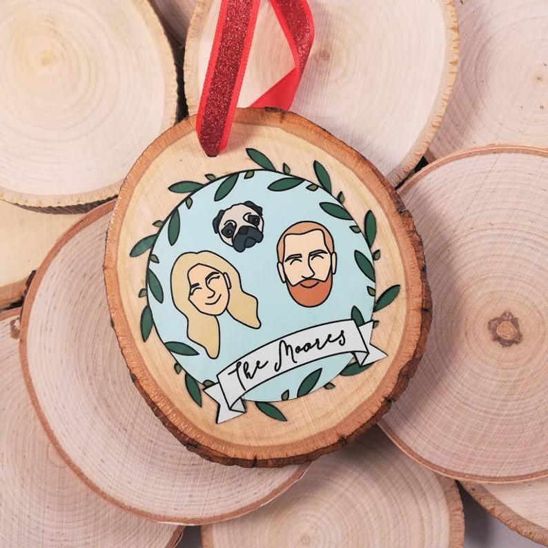 Custom Portrait Ornament, Personalized Ornament, Family