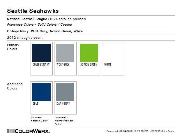 Seattle Seahawks Pantone Colors Seattle Seattle Seahawks