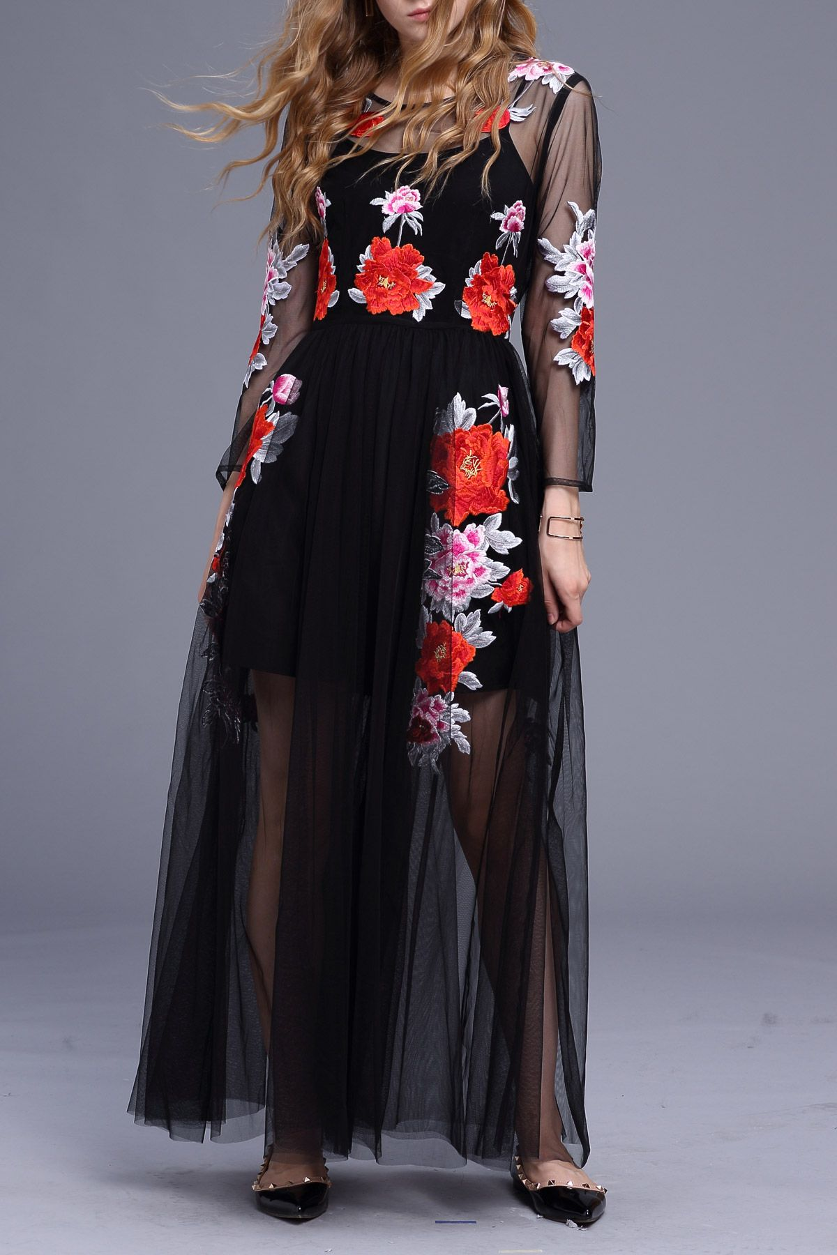 Embroidered long sleeve a line dress with cami dress maxi dresses