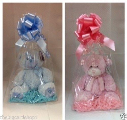 Newborn Boy Girl Soft Teddy Bear In Pink Or Blue Cellophane Wrapped