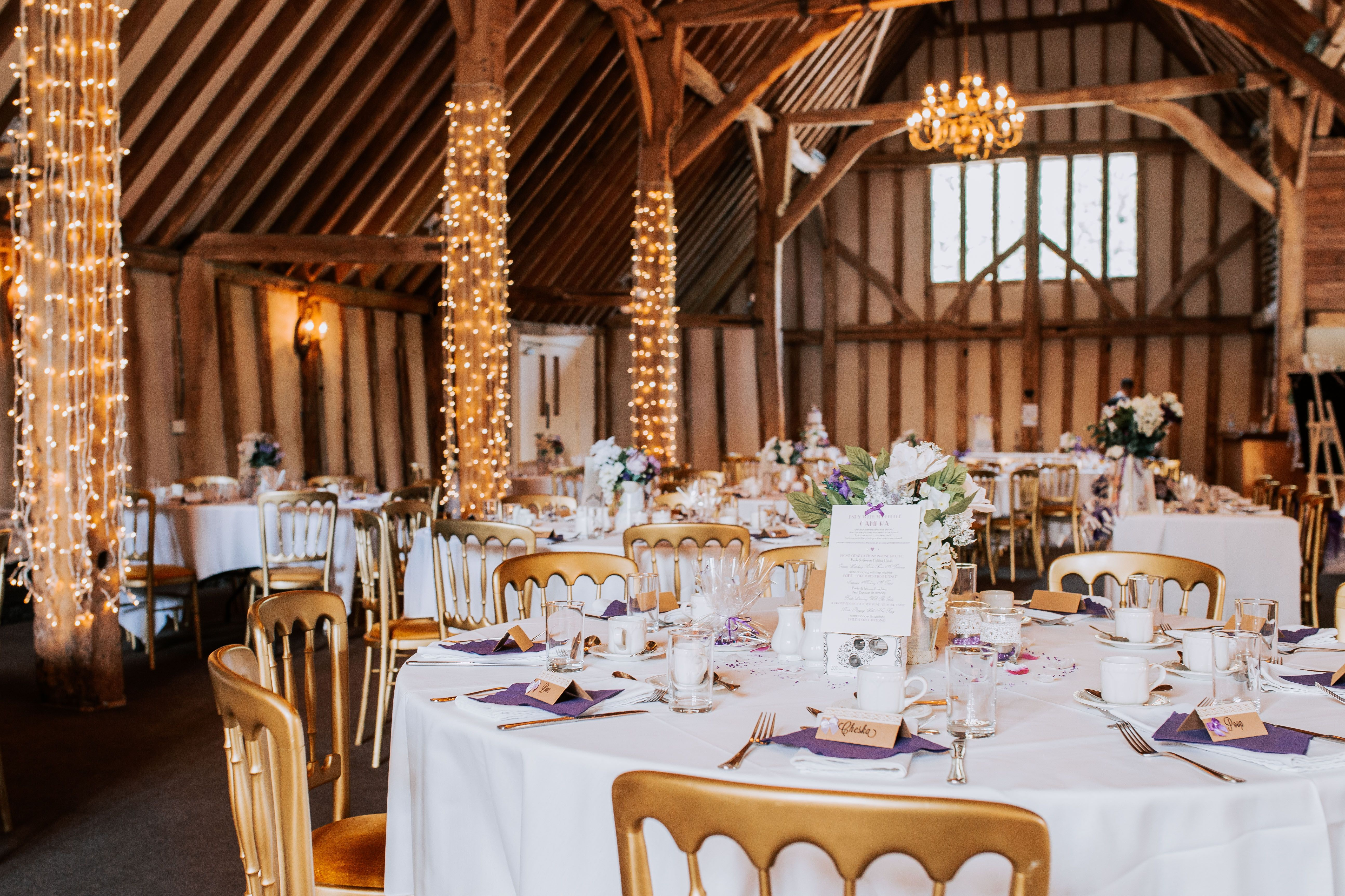 Gorgeous Beams And Fairy Lights At The Barn Wedding Venue Blake Hall Ongar Es