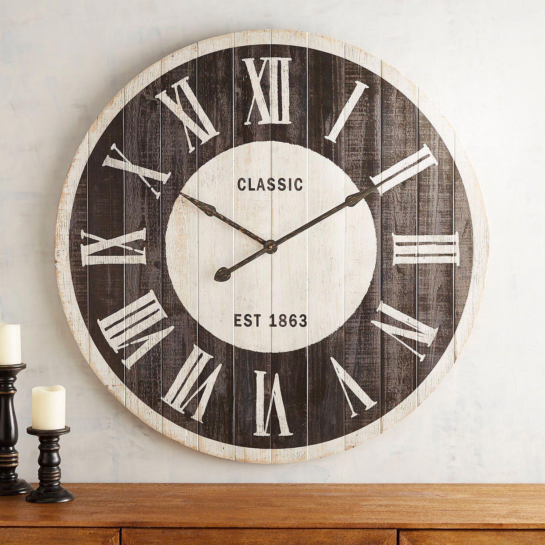 Black White Planked Classic Wall Clock Cerceve Kelebekler