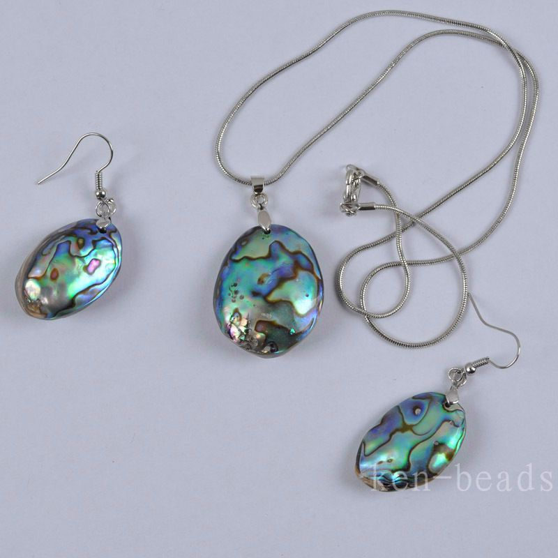 New Zealand Abalone Shell Necklace Jewelry Earrings Set Jewelry F333 #0 #luck