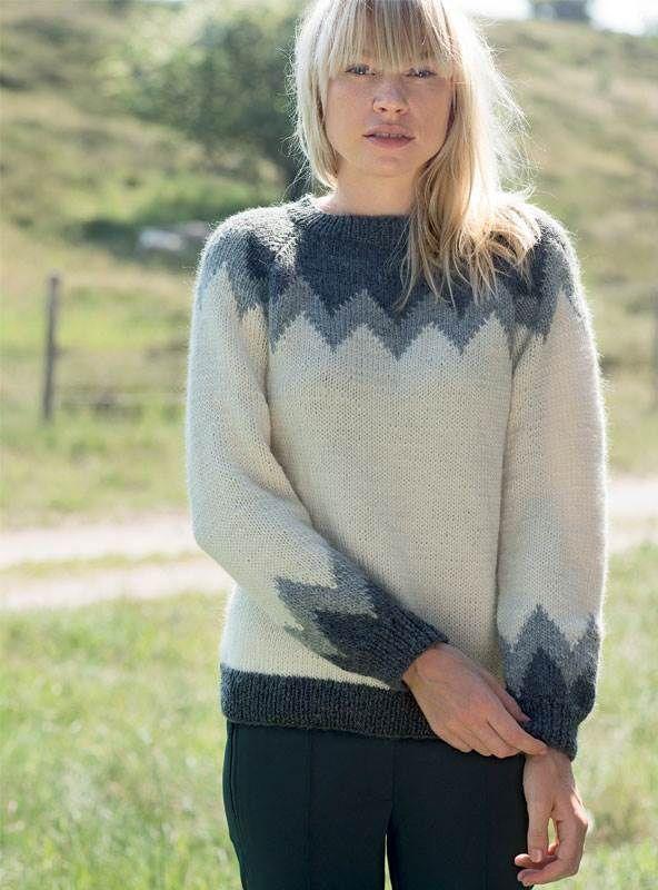 Strik selv: Sweater med megazigzag - ALT.dk   Knit   Pinterest