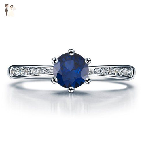 Round Cut Blue Sapphire Engagement Ring 14k White Gold or Yellow Gold Platinum HANDMADE September Birthstone Diamond Ring Free Shipping - Wedding and engagement rings (*Amazon Partner-Link)