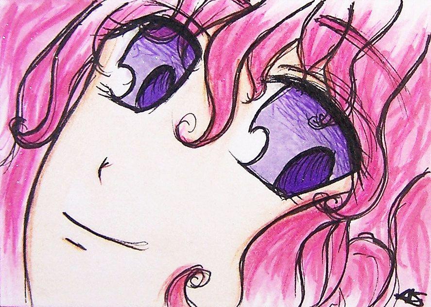 atc stylish girl pink hair collectible girl anime Art work trading  card aquarel painting ACEO card anime girl  painting pink girl