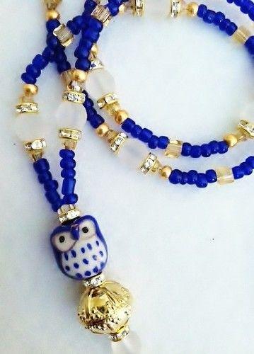 "Blue Owl ""MS Intelligent "" Crystal Beaded Lanyard ID Badge Tag Holder Gift | eBay"