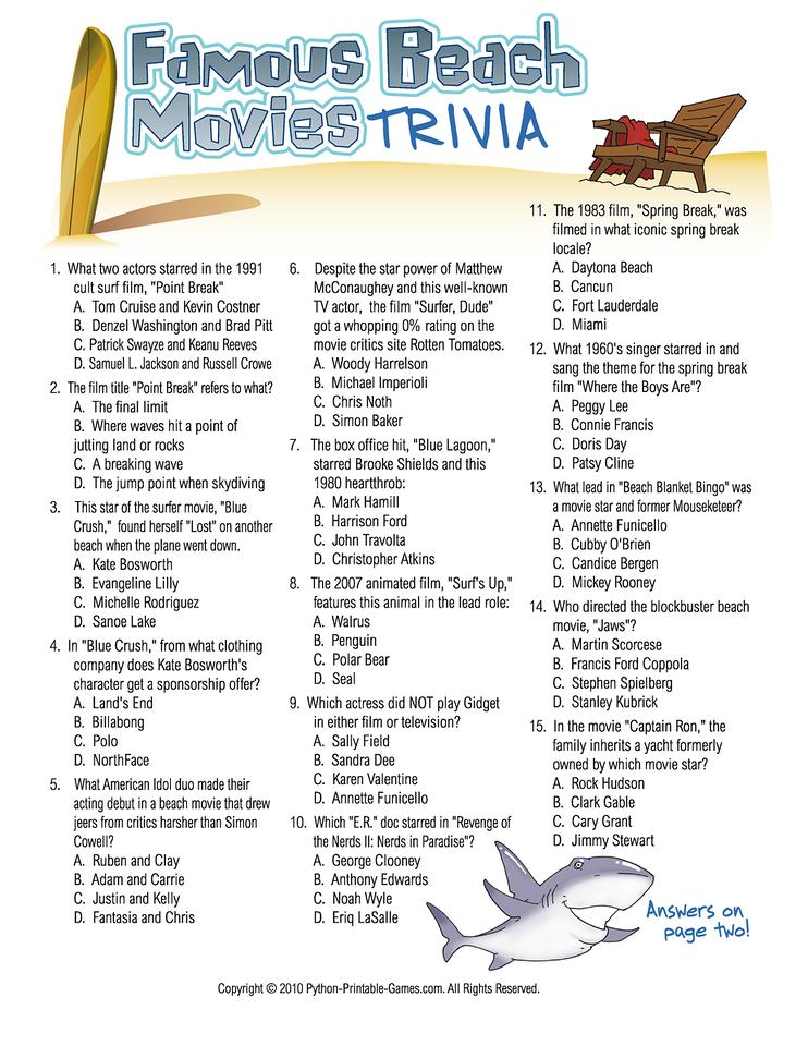 Famous Beach Movie Trivia Game! Movie facts, Movie