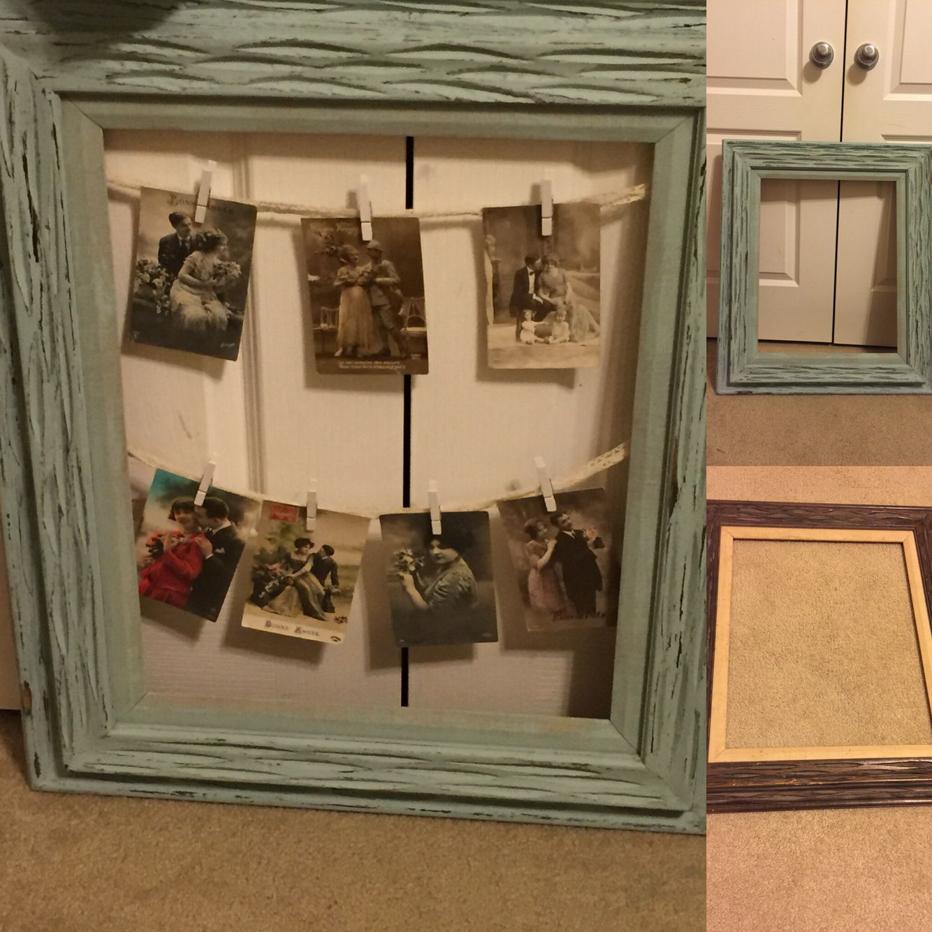 Thrift store frame. Antique cards. I painted the frame with some chalk paint and ruffed it up a bit. Added the lacy ribbon and the cards with white clothes pins. Loving this look!