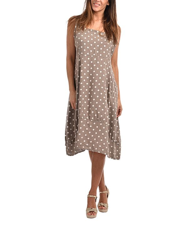 Look at this Couleur Lin Taupe Charlene Linen Shift Dress - Plus ...