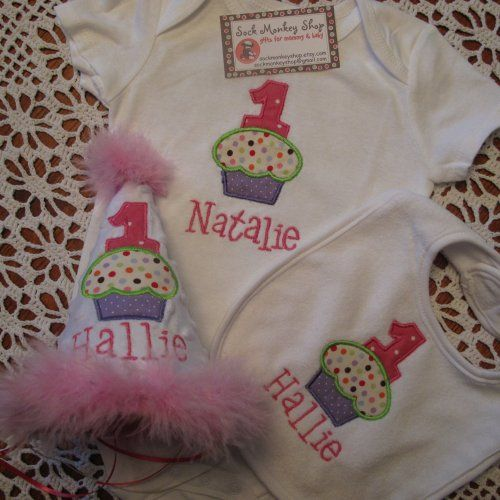 Cupcake Personalized First Birthday Hat Bib And Ones