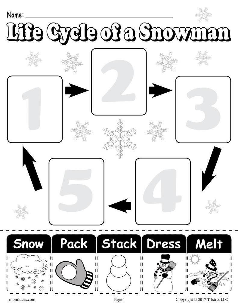 Life Cycle Worksheet 2nd Grade \life Cycle Of A Snowman\ Printable Worksheet    Printable worksheets [ 1024 x 791 Pixel ]