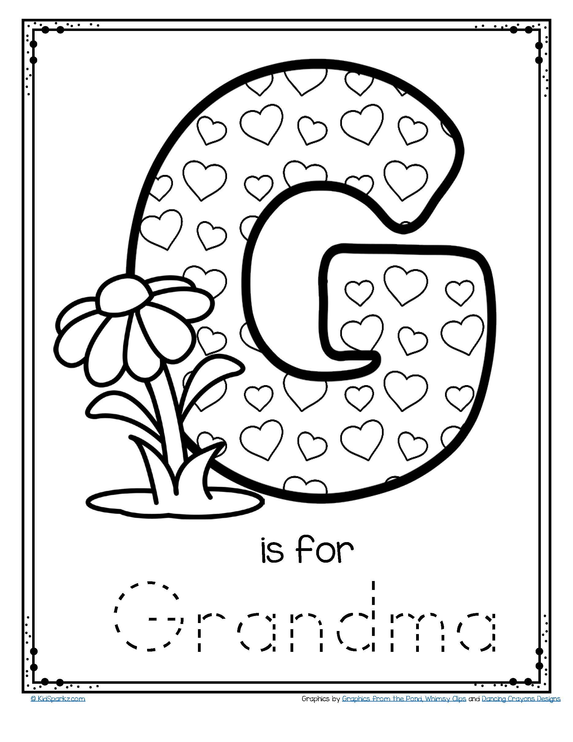 Free G Is For Grandma Trace And Color Printable