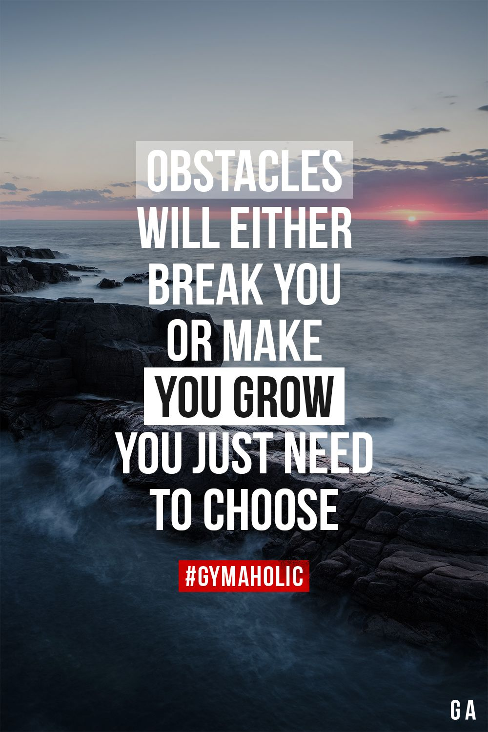 Obstacles will either break you or make you grow. You just need to choose. – Motivation